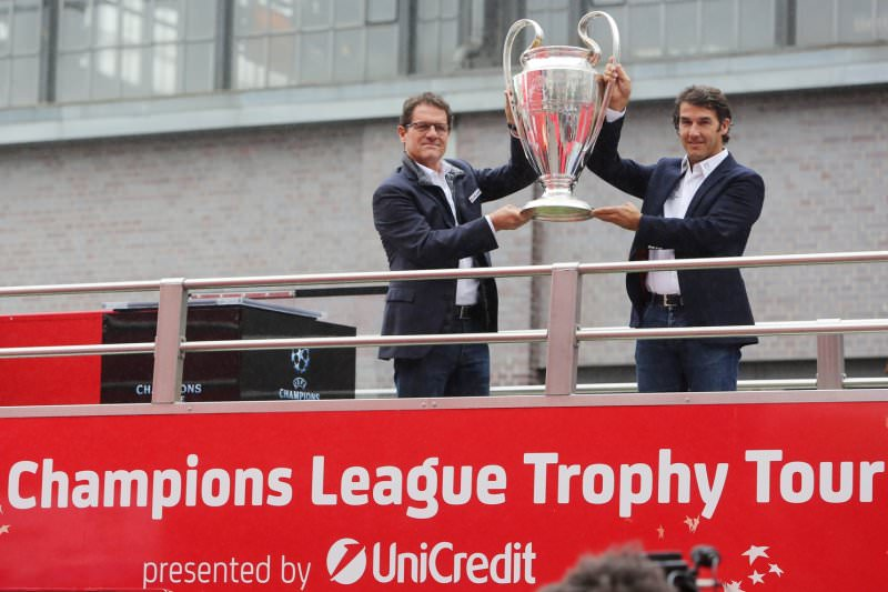UEFA-Karl-Heinz Riedle UEFA Trophy Tour Ambassador and Fabio Capello Official UniCredit Ambassador UEFA Champions League
